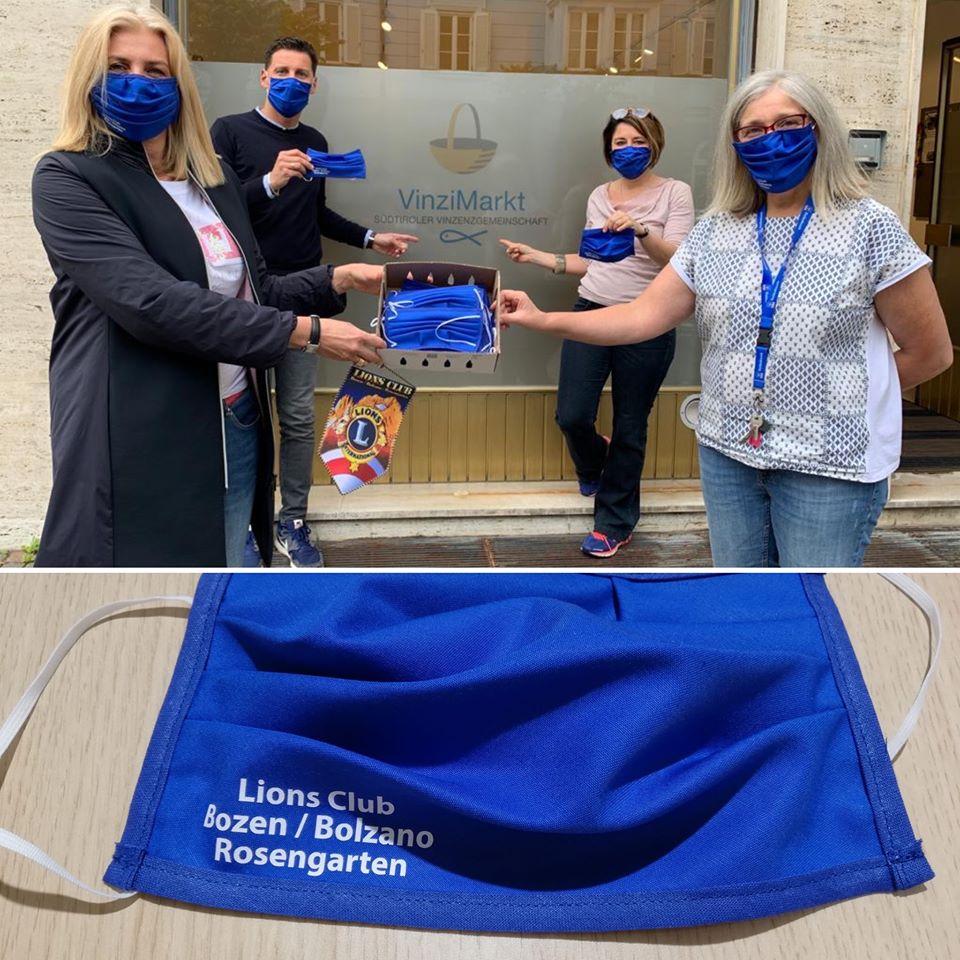 Der Lions Club Bozen/Bolzano Rosengarten hat Volontarius und dem VinziMarkt Mundschutzmasken aus Stoff zur Verfügung gestellt.